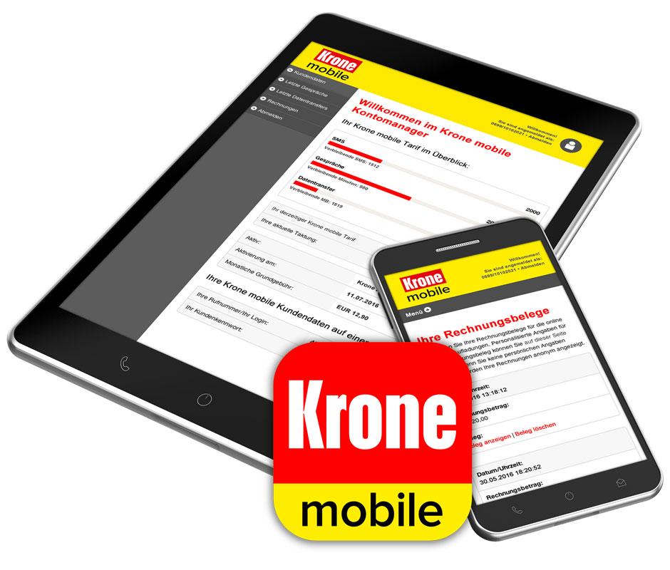 Handy und Tablet mit Krone mobile App