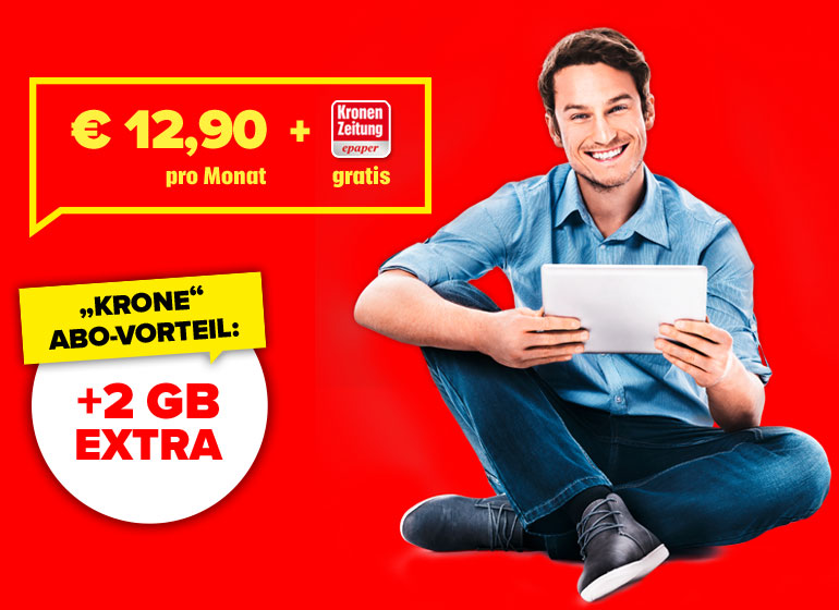 € 12,90 pro Monat + Kronen Zeitung epaper gratis