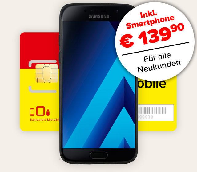 Komplettpaket mit Samsung Galaxy A3 und Smartphone-Tarif
