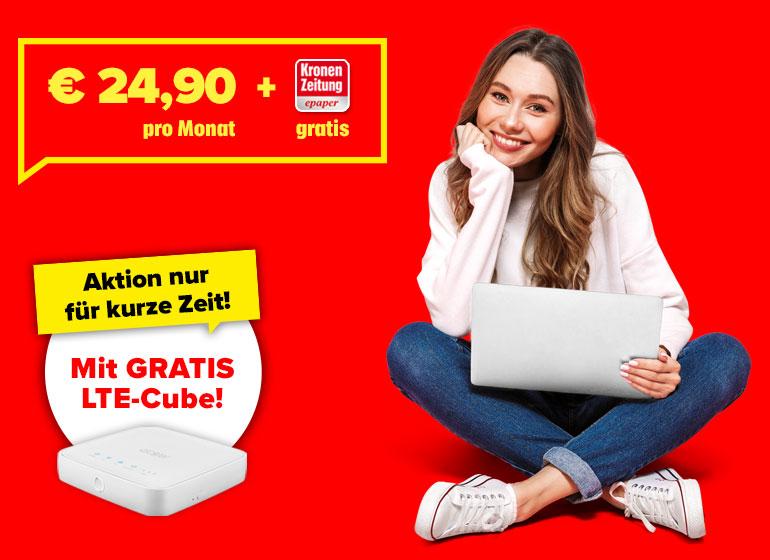 € 24,90 pro Monat + Kronen Zeitung epaper gratis