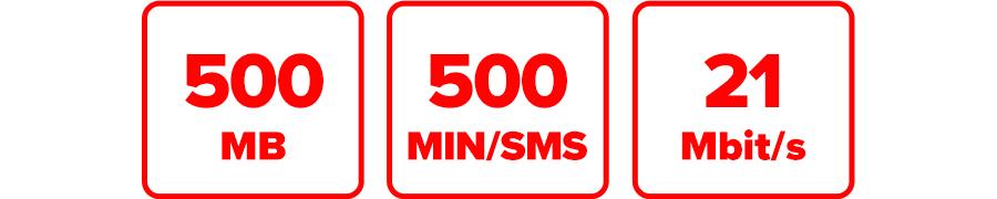 Inklusive 500 MB, 500 MIN/SMS und 21 Mbit/s