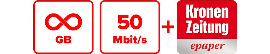 Inklusive unbegrenzte GB, 50 Mbit/s und Krone ePaper
