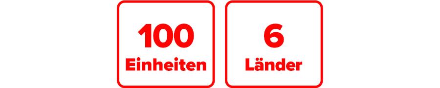 Inklusive 100 Einheiten für Minuten, SMS oder MB, gültig in 6 Ländern