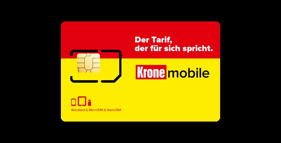 SIM-Karte mit aktiviertem Krone mobile Daten-Tarif Unlimited
