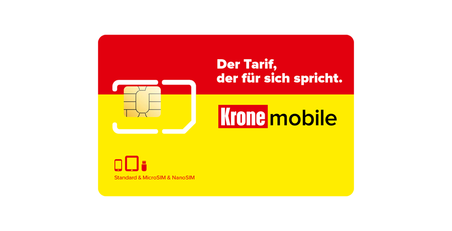 SIM-Karte mit aktiviertem Krone mobile Sprach-Tarif Plus