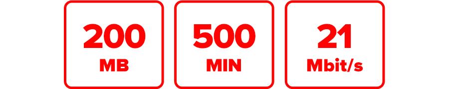 Inklusive 200 MB, 500 MIN und 21 Mbit/s